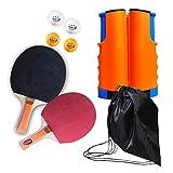 GEVJ Juego De Entrenamiento De Tenis De Mesa Portátil, Red De Ping-Pong Retráctil, Entrenamiento De Práctica De Padel De Tenis De Mesa De Interior Y Exterior con Bolsa De Almacenamiento