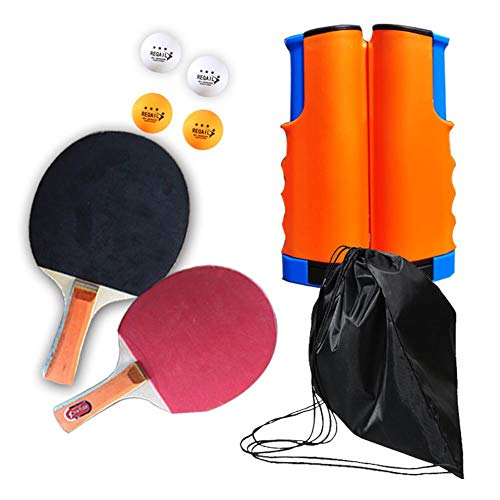 New Table Tennis Racket Set with Net Tabletop Tennis Game Set Ping Pong Paddle Set Portable Telescop...