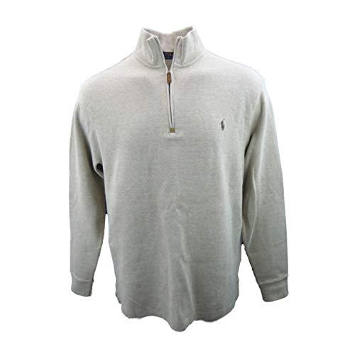 Polo Ralph Lauren Men's Quarter Zip Sweater (Small, Cream Heather)