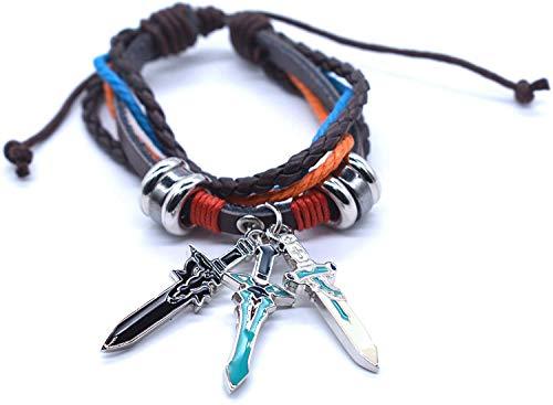 Sword Art Online Plaited Bracelet with Three Swords Shape Pendants