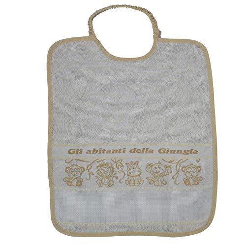 Babero con elástico para bordar Giungla, babero grande de esponja, 28 x 33 cm, para guardería y guardería, con tela Aida para bordar el nombre en punto de cruz, 100% algodón, fabricado en Italia ecrù