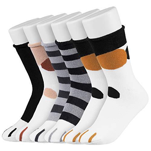 Easycosy 5 Paar Katzenpfoten Damen Socken aus Baumwolle Winter Warme Kuschelsocken Katzen Baumwollsocken Hausschuhsocken süße Interessante Tier Charakter Katze Funny Crew Socken