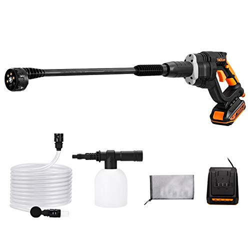 TACKLIFE Cordless Pressure Washer, 20V 2.0AH, 6-in-1 Adjustable Nozzle, 319 Max PSI Portable Power Cleaner, Suitable for Washing Cars, Cleaning floors and Watering Flowers-KDPW20A
