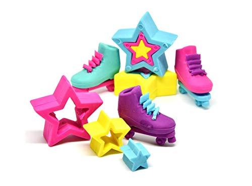 Theonoi 6 x Radiergummi als Set - Rollschuhe Sterne Puzzle Radierer Inliner kleines Geschenk / Mitgebsel für Kindergeburtstag oder Motto Party Feier Give Away für Kinder (Mehrfarbig)