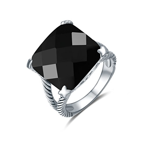 Quiges Solitair Ring van Zilver met Zirkonia Kristal Zwart voor Dames