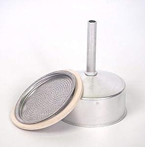 Sanfor Repuesto Cafetera Italiana 9 Tazas | Recambio Embudo + Filtro + Junta | Aluminio Caucho | Diámetro 74 mm