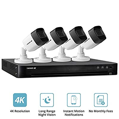 Defender 4K Outdoor Security Camera System with 4 Weather Resistant, Night Vision Cameras, 1TB DVR and Remote Viewing Capabilities…
