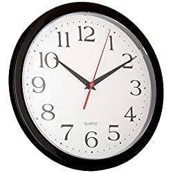 UrbanWare Silent Decorative 10 Wall Clock - Quartz Sweep - Easy to Read - Round Black Frame - Battery Operated - White Face - 10 Inch