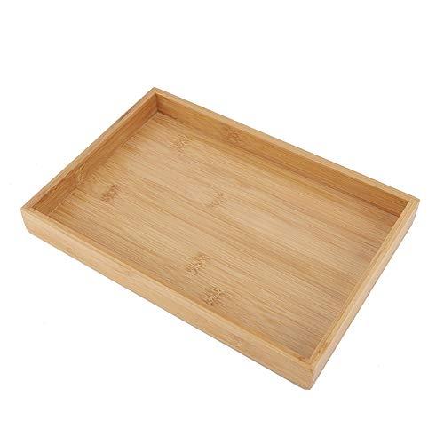 Bandeja de madera para servir bandeja de comida rectangular de madera de bambú japonesa para té y frutas para restaurante decoración del hogar(28 * 19.5 * 3 cm)