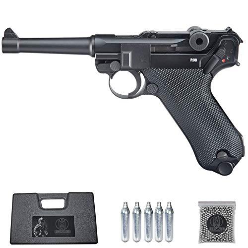 Ecommur. Legends P08 Blowback umarex | Pistola de perdigones (Bolas BB s de Acero) de Aire comprimido semiautomática Tipo Luger Alemana 4,5mm + maletín + balines y CO2