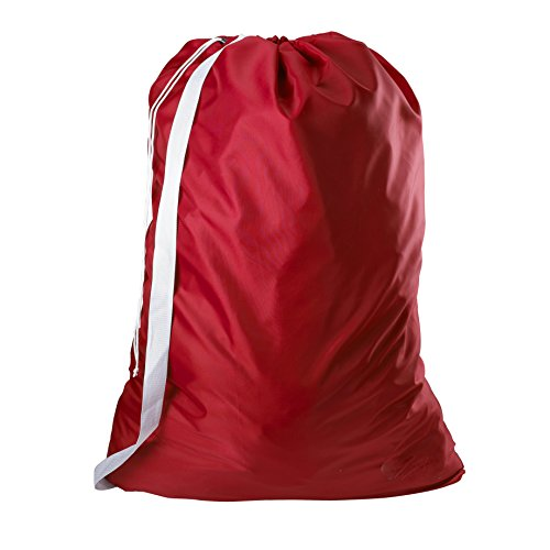 Nylon Laundry Bag with Shoulder Strap, Red - 30