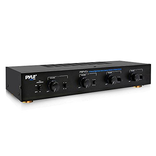 Premium New and Improved 4 Zone Channel Speaker Switch Selector Volume Control Switch Box Hub Distribution Box for Multi Channel High Powered Amplifier Control 4 Pairs Of speakers - Pyle PSPVC4