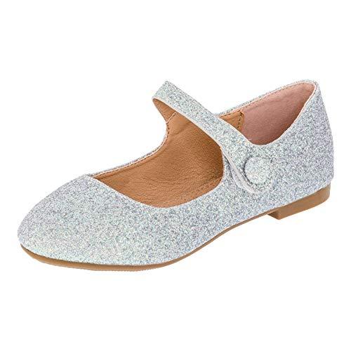 Festliche Mädchen Glitzer Ballerinas mit Leder Innensohle M373si Silber 36