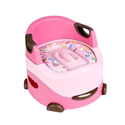 GDSMTG Bebé portátil para niños Entrenamiento para niños Silla de baño Taburete de Entrenador para niños con cojín Portátil (Color : Pink)