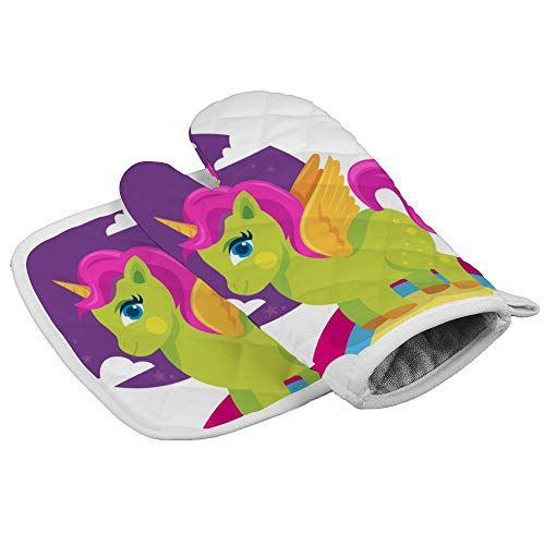 N/R Kleurrijke groene pony paard met gouden hoorn hittebestendige keuken oven wanten en pot houders magnetronhandschoenen voor het bakken koken grill barbecue