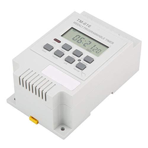 Temporizador digital programable de 7 días Interruptor de control de tiempo Montaje en riel Din, Interruptor temporizador Interruptor temporizador programable(blanco)