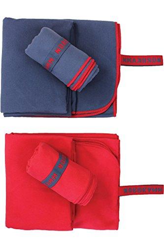 NORDKAMM – Mikrofaser Handtuch Set mit Oeko TEX 100 ® Zertifikat, Ultraleicht, Microfaser Handtuch Reise 2er-Set: klein 50x100, groß 70x150, blau oder rot (Blau)