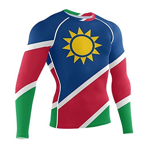 LORDWEY Namibia Flag - Manga larga de compresión para hombre, multicolor, L