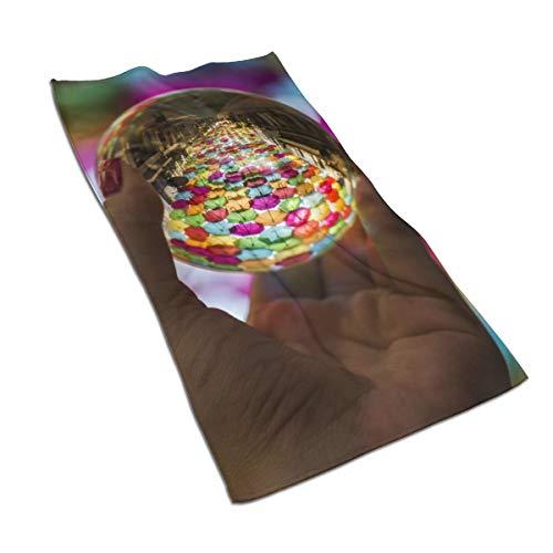 N/A De Paraplu Straat In Águeda, Portugal Tijdens de AgitÁgueda Art Zachte Douche Bad Handdoeken Handdoek Zeer Absorberend voor Keuken,Hotel,Yoga,Gym,Spa (27 X 15 Inch)
