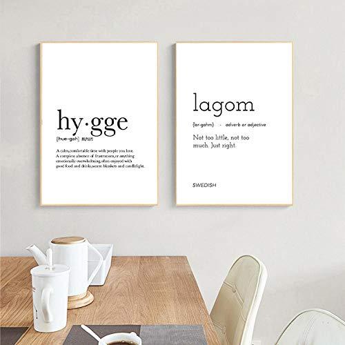 None brand Diccionario romántico Impresión de Arte Definición de Hygge Póster Minimalista para el hogar Bar Salón Restaurante Arte de la Pared Decoración Sin marco-30x40cmX2