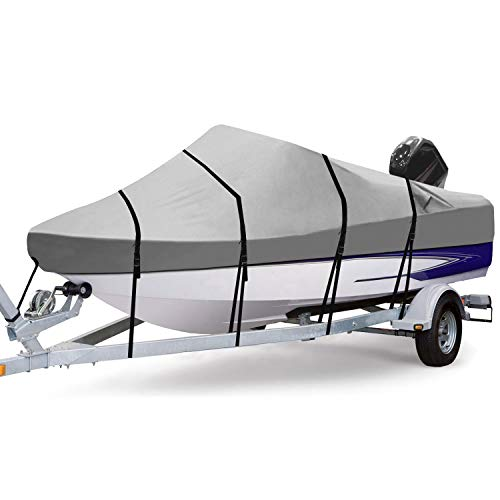 RVMasking 3 Bow Bimini Top Boat Cover with 2 Rear Support Pole + 2 Straps + Storage Boot + 8 Deck Mounts, 800D Solution-Dyed Fabric (6'L x 46' H x 67'-72' W, Blue) (4 Bow: 6'L x 46' H x 67'-72' W)