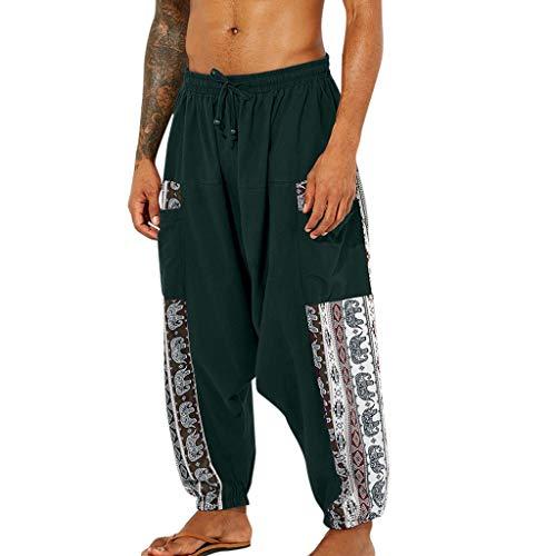 KPILP Lose Pumphose Aladinhose Herren Entspannt Pluderhose Hippie Kleidung Schlupfhose Yoga Sport Hose Lose Licht Baggy Haremshose mit Elastische Bund