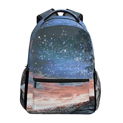 Bookbag Night Sky Stars Moon Tree School College Casual Travel Printed Bookbag Lightweight Student Backpack Gift Shoulder Bag Durable Unique Stylish