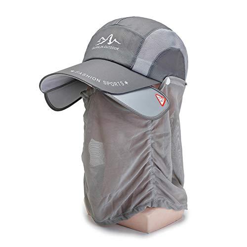 Gorra de Sol, Sombreros de Pesca, Solapa de Cara de Cuello Desmontable, Anti-Mosquitos, Protección para el Cuello, Protección Solar UPF 50+, para el Sol para Practicar el Senderismo Caza