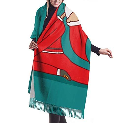 Lawenp 27 'x77' Bufanda para mujer Papá Noel haciendo yoga Bufanda para mujer Chal Wrap para niños Elegante manta grande y cálida