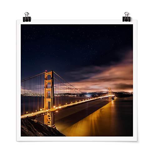 Poster Imprimé Golden Gate to Stars Carré Fini satiné Autocollant 90 x 90cm
