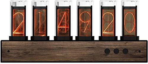 Reloj De Tubo Digital Reloj De Tubo Nixie, Reloj Digital LED, Bombilla De Alta Gama, Panel De Nogal Negro, Carga USB Reloj De Tubo Luminoso Con Ajuste Automático De Brillo, Regalo De Cumpleaños