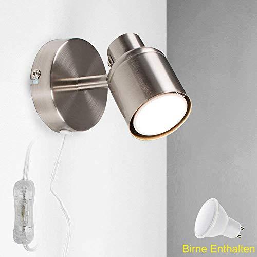 DLLT 5W LED Wandspot mit Schalter Drehbar, Wandstrahler aus Aluminium 3000K, Modern Wandlampe GU10 mit Dreh- und Schwenkbarem Spot für Kinderzimmer Wohnzimmer Schlafzimmer Treppe(Leuchtmittel inkl.)