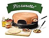 Emerio Pizzaofen, PIZZARETTE das Original, handgemachte Terracotta Tonhaube,...