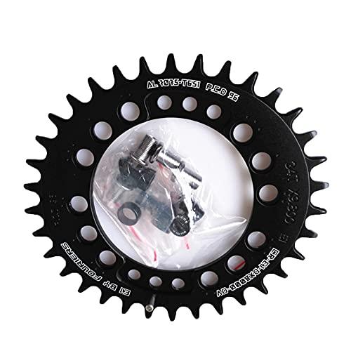PPKZY Oval MTB Cadena de la Cadena de Bicicleta Cadena de la Rueda 11 Velocidad 96 PCD Mountain Bike Bike Caining 34-48T (Color : 34T Black)