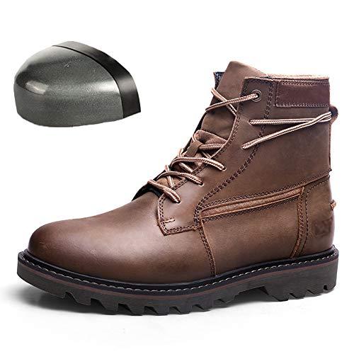 Zapatos de Seguridad livianos, Cuero de Vaca para Hombres, Trabajo, Anti-Rotura, Anti-perforación, Puntera de Acero, Soldador, antiolor, Sitio de construcción, Calzado de Seguro Laboral,C,41