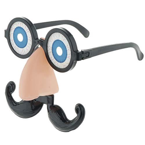 Lustige Partybrille Spaßbrille Brille mit Augen Bart und Nase für Cosplay Party und Karneval