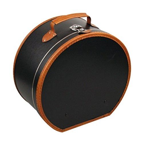 Hutschachtel Pappe schwarz mit brauner Borde ca. Ø 40 x 20 cm Hutkoffer Hutbox Hutaufbewahrung Hutschachte Hutkiste Hutkarton