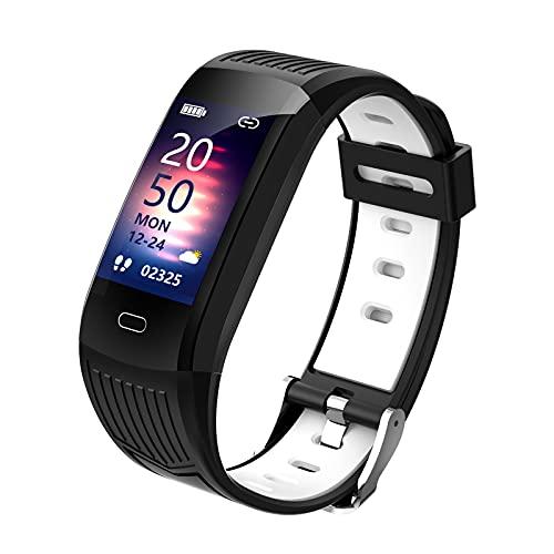 Generic Orologio Intelligente per Android e iOS Cellulari Activity Tracker Passo Contatore di Salute e Fitness Smartwatch App Messaggio di Promemoria - Nero Bianco