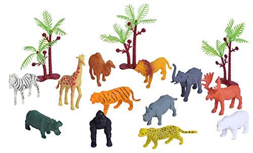 Wild Republic Wild Animals Bucket  Toy Figures  Kids Gifts  Jungle Theme Party Supplies  Zoo Animals  15-Pieces