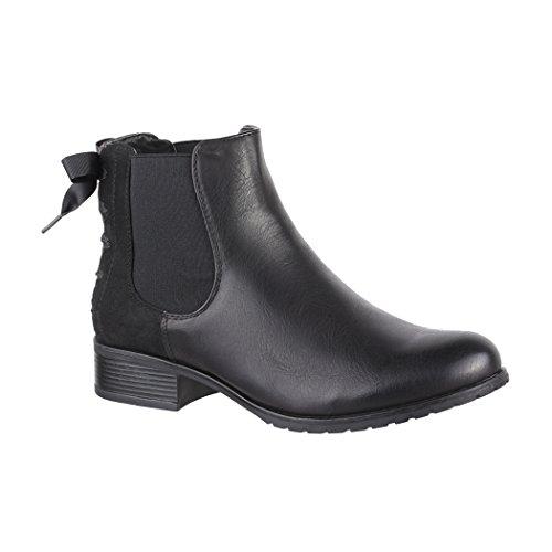 Elara Damen Stiefeletten Chelsea Boots mit Schleife Chunkyrayan 2018 C535-Black-39