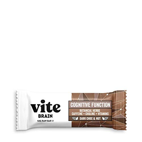 Vite Brain Bar - Nootropic Brain Support Snack bar for Brain Health and Mental Performance - 12 x 50G (Dark Choc & Nut)