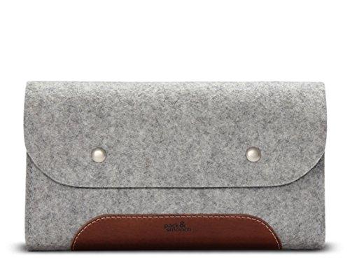 Pack & Smooch MacBook iPad Pro Zubehör Und Kabel Tasche 100% Wollfilz Und Pflanzlich Gegerbtes Leder Handmade in Germany Grau/Hellbraun