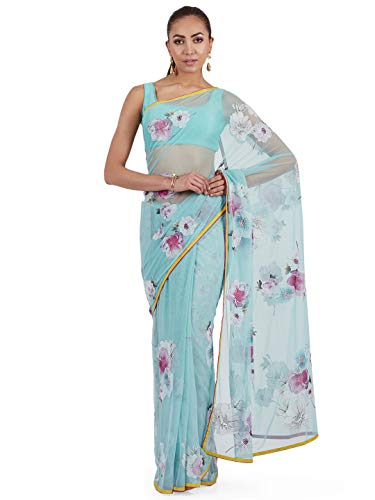 SATYAPAUL Women's Net Embroidered Saree with Blouse Piece (ESW13377_03_A, Sky Blue)