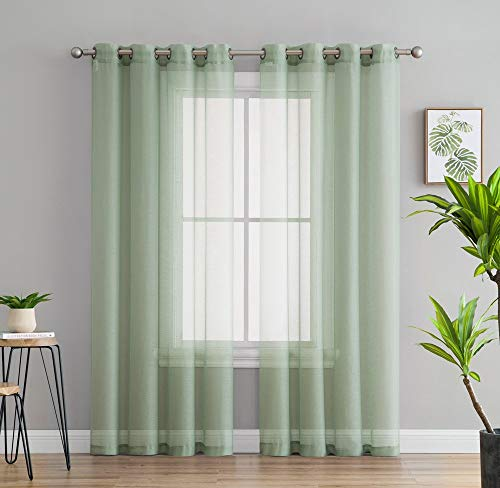 """HLC.ME 2 Piece Semi-Sheer Voile Window Curtain Grommet Panels for Bedroom & Living Room - (54"""" W x 84"""" L, Sage Green)"""