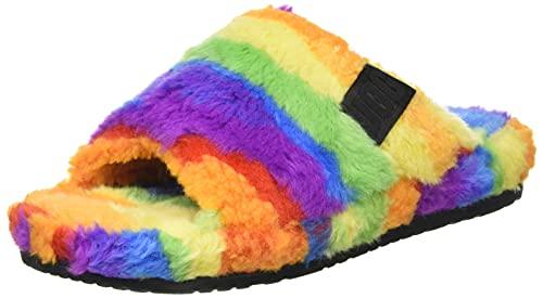 UGG Men's Fluff You Cali Collage Slipper, Pride Rainbow, 8 UK