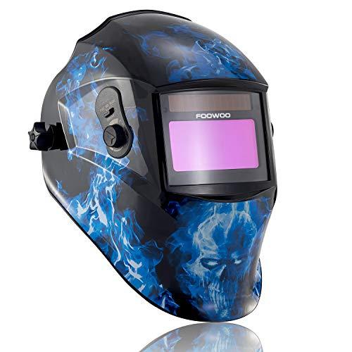 FOOWOO Auto-darkening Welding Helmet Solar Powered Welder Mask with Adjustable Shade Range 5-9/9-13 for Grind/MMA,MIG/MAG, TIG Welding