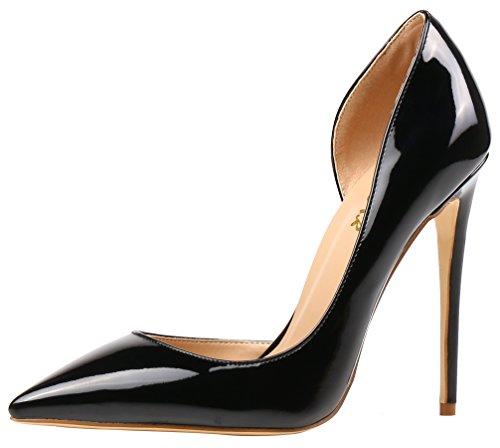 AOOAR Damen High Heels Mode Schuhe Schwarz Lackleder Kleid-Partei Pumps EU 37