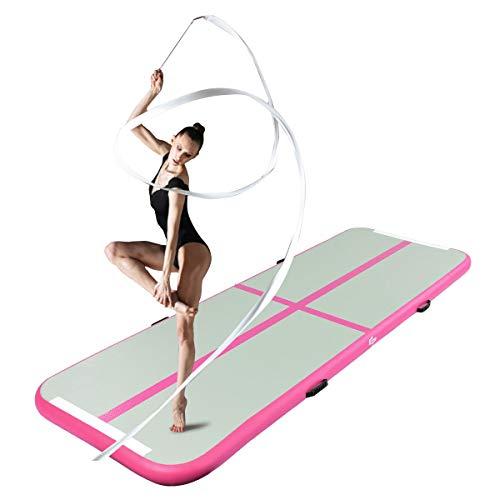 GOPLUS Air Track Tumbling Matte aufblasbare Gymnastikmatte Yogamatte Trainingsmatten Weichbodenmatte Turnmatte Fitnessmatte mit Pumpe tragbar Farbwahl 300x100x10cm (Grau + Rosa)