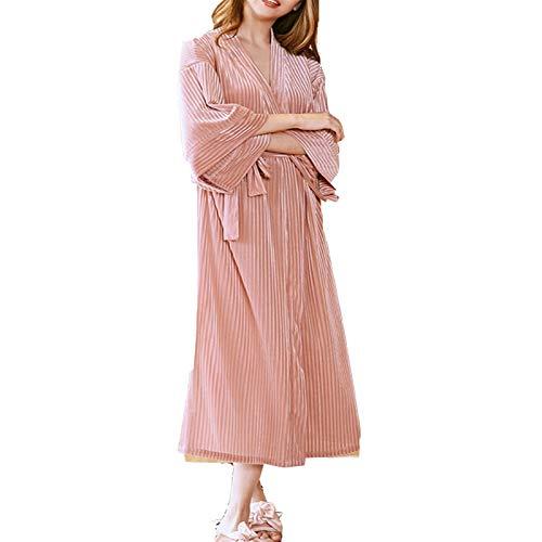 JIAGU Camisón Holgado Pink Homewear cómodo Terciopelo del camisón de Las señoras otoño e Invierno Long Hotel Camisón Albornoz (Color : Pink, Size : One Size)
