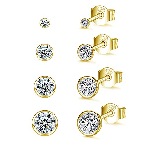 Sterling Silver Stud Earrings for Women Men Girls, 4 Pairs Small Round Cubic Zirconia Gold Earrings Set | Tiny Dainty Cartilage Tragus Earrings(2mm/3mm/4mm/5mm)